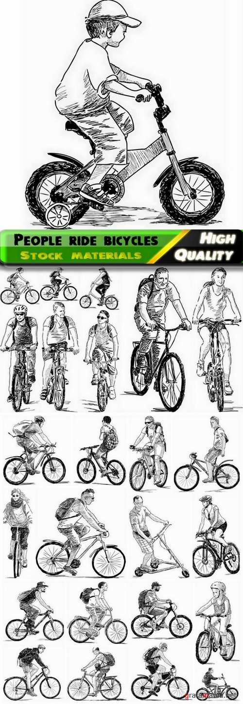Vector people ride bicycles from stock - 25 Eps