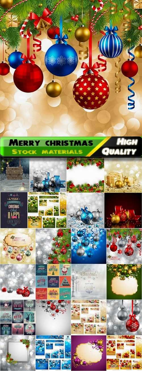 Merry christmas template design in vector from stock #2 - 25 Eps