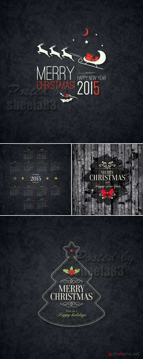 Black Christmas Backgrounds Vector 2