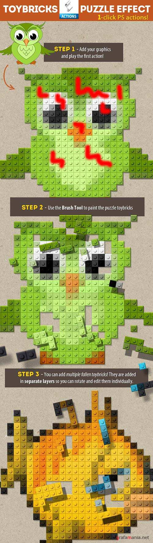 GraphicRiver Lego Toy Bricks Puzzle Photoshop Actions