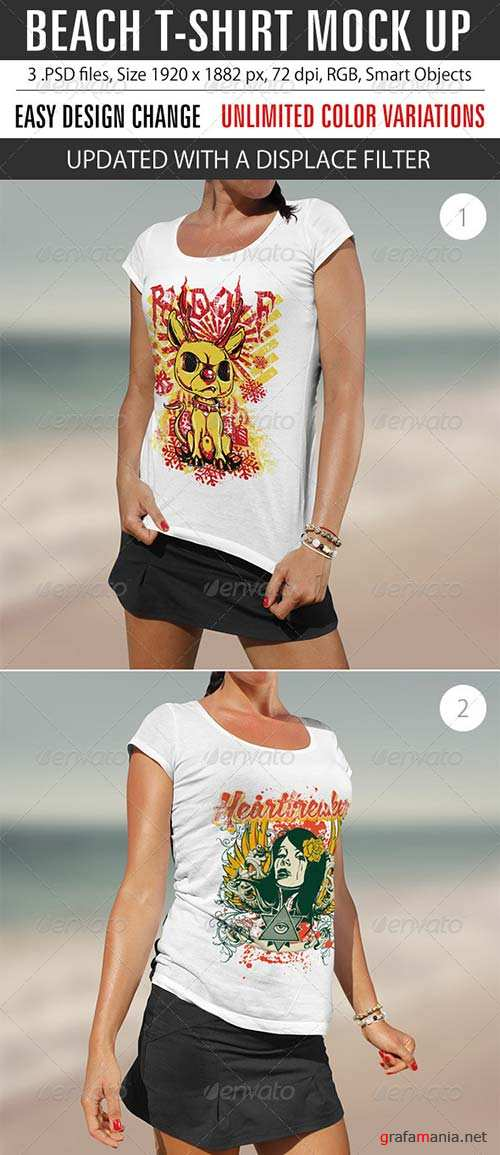GraphicRiver Beach T-Shirt Mock Up