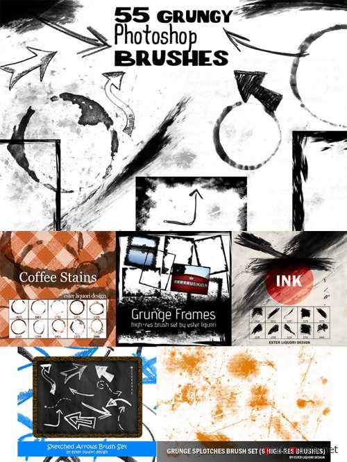 CreativeMarket - 55 Grunge Photoshop Brushes Bundle 1757