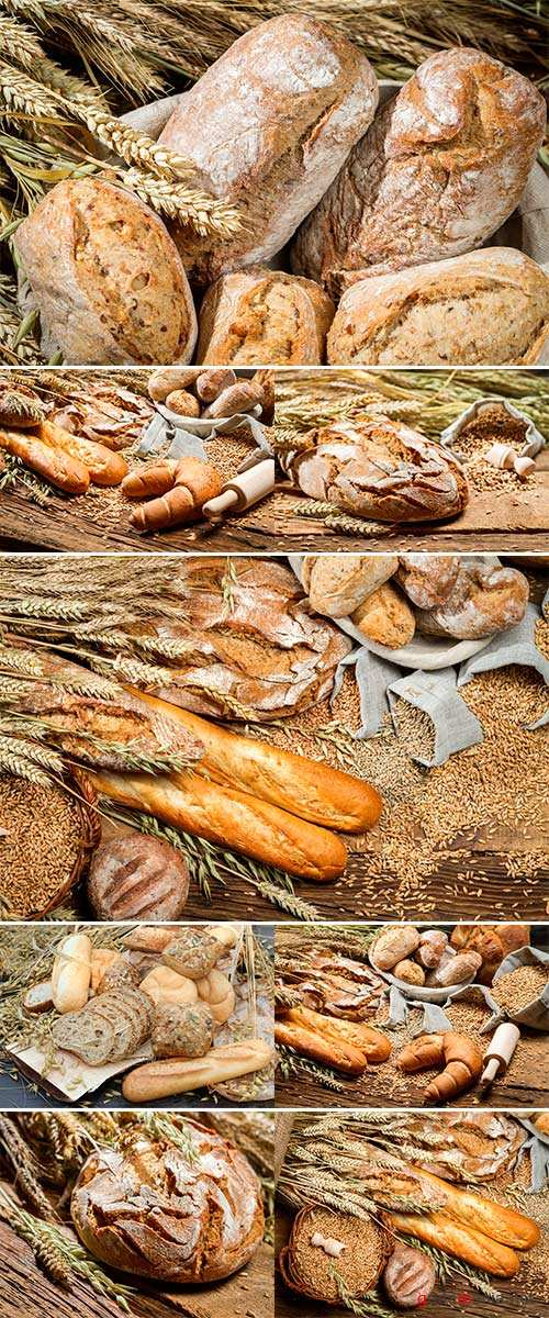 Stock Photo Various kinds of whole wheat bread on old wooden table