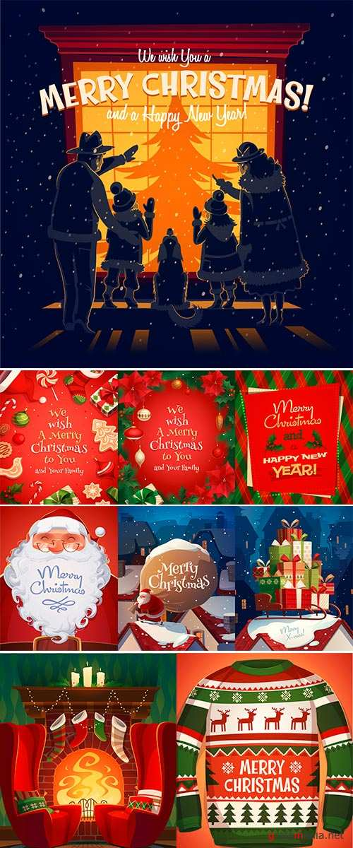 Stock Holiday frame, Christmas card  poster  banner, Vector illustration