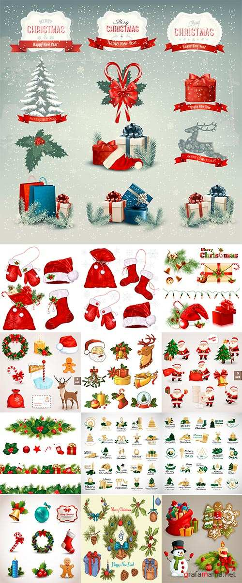 Stock Collection of Christmas icons and design elements, Vector illustration