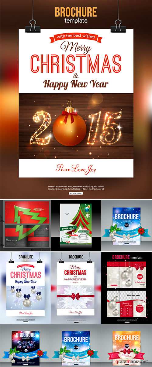 Stock Christmas brochure template, Abstract typographical flyer design with xmas golden ball