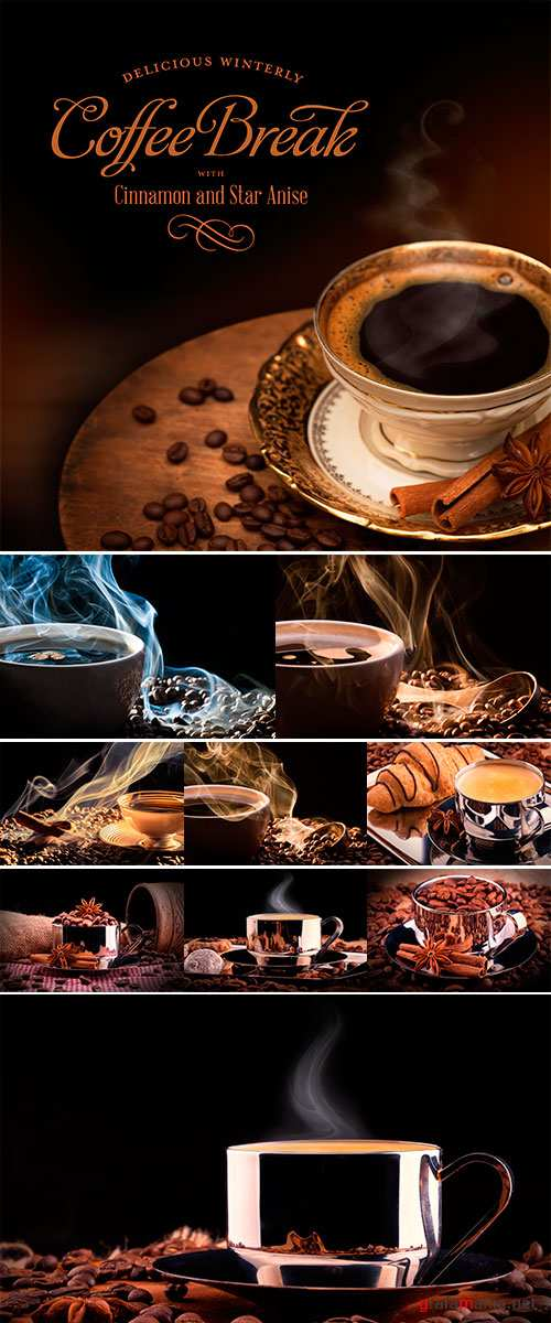 Stock Photo Black coffee in a golden cup, winterly spices