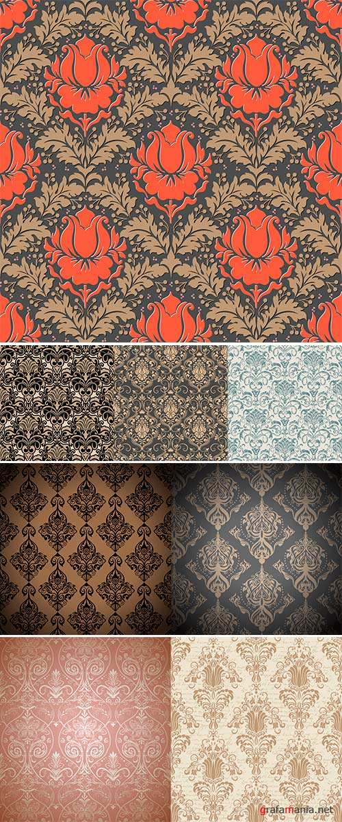 Stock Vector damask seamless pattern background