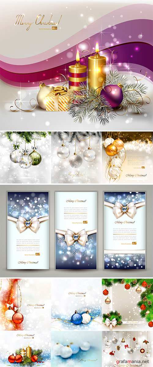 Stock vector bright Christmas background with gold and white evening balls