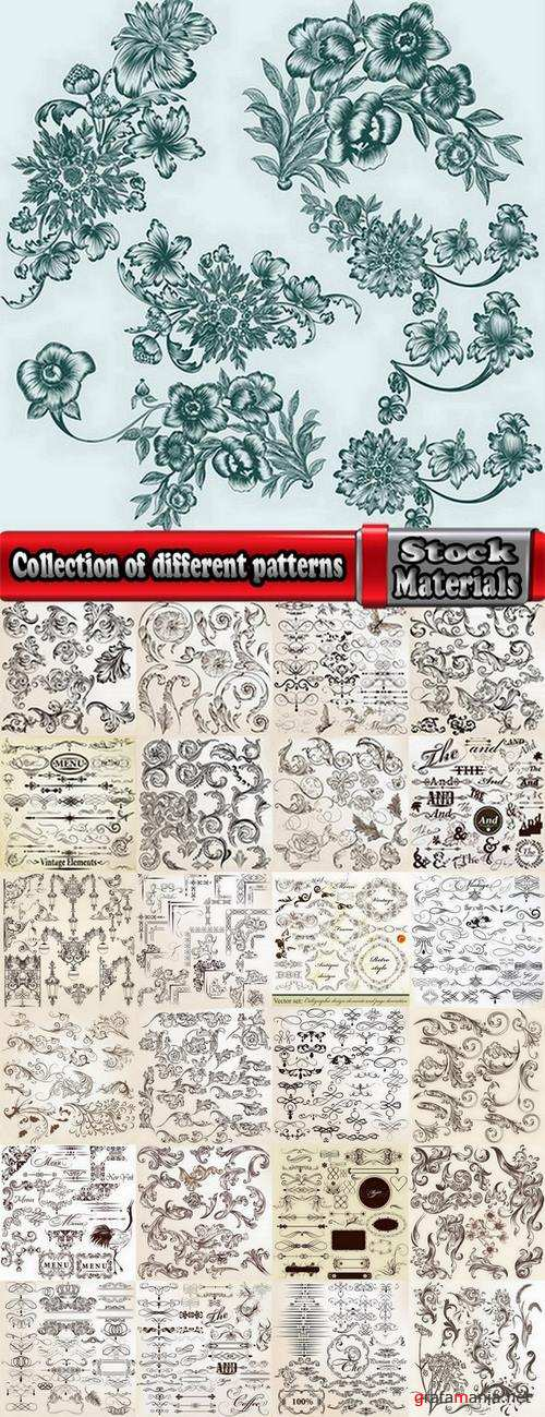 Collection of different patterns of decorative elements 25 Eps