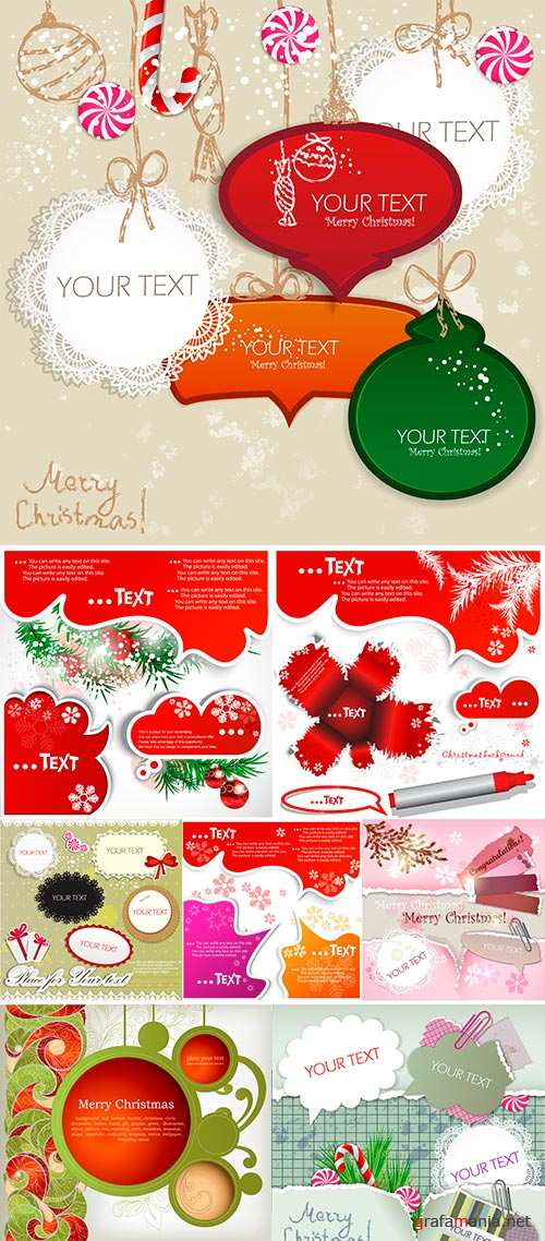 Stock Colorful little notes with space for text, Christmas design
