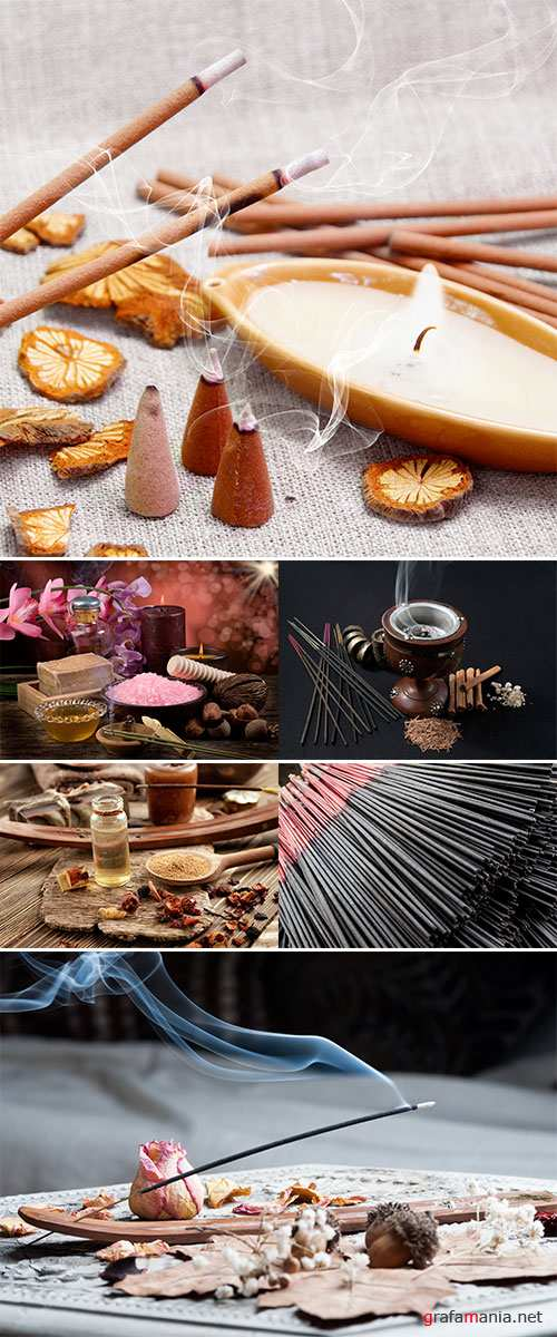 Stock Photo Incense stick on wooden table