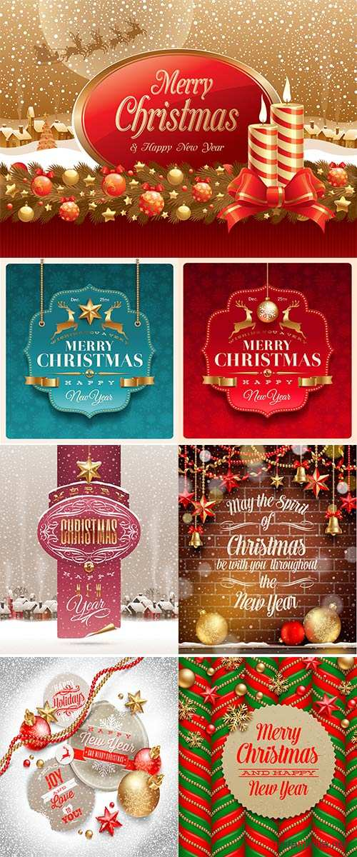Stock Vector Christmas greeting decorative label, vector illustration
