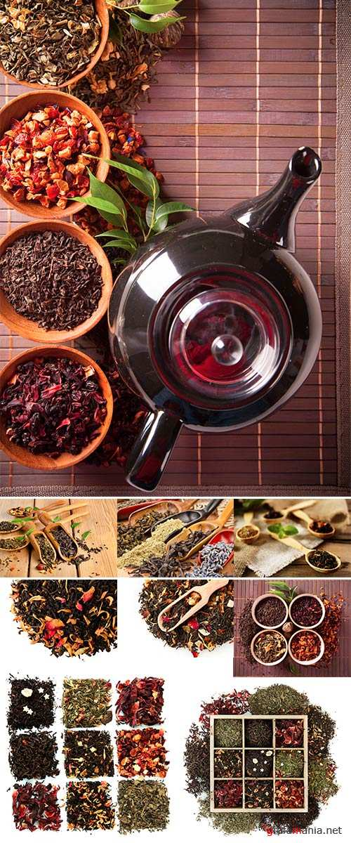Stock Photo Dry tea in bowls shot from upper view