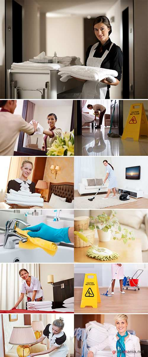Hotel service, female chambermaid or housekeeping worker with towels and bedclothes at inn room