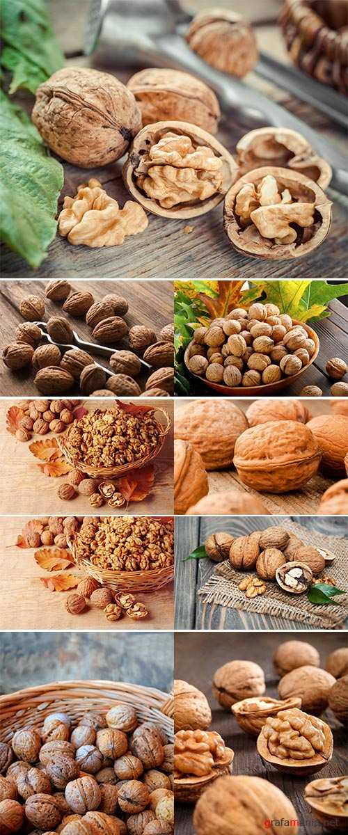 Stock Photo Walnut kernels in basket and whole walnuts on rustic old wood