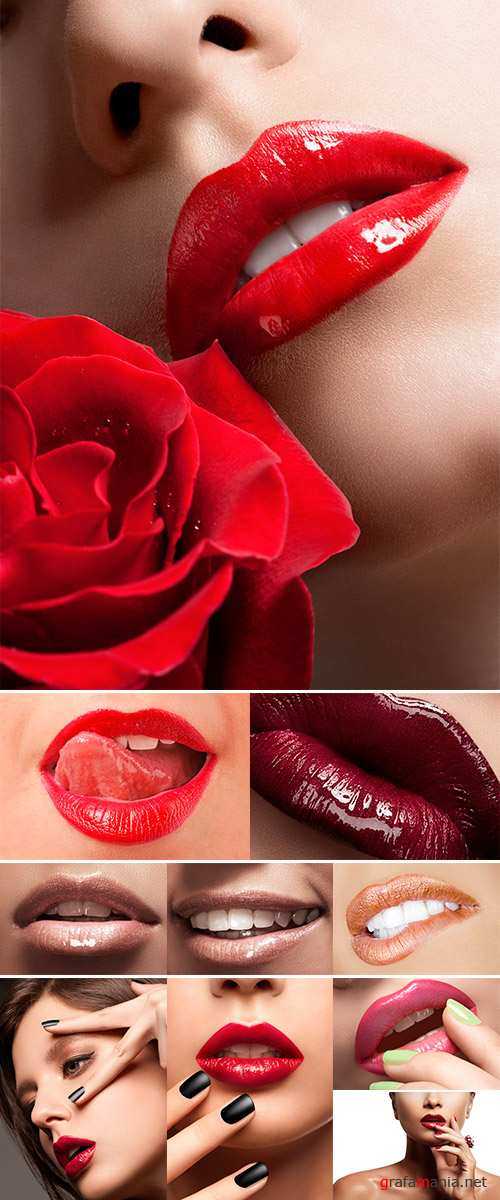 Stock Photo Close-up of  woman licking lips while isolated on white