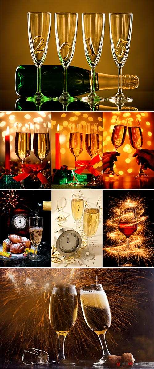 Stock Photo Christmas still-life with a candle, gifts and glasses