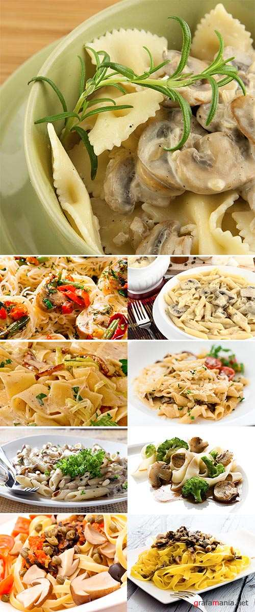Pasta with mushrooms and sauce, Stock Images