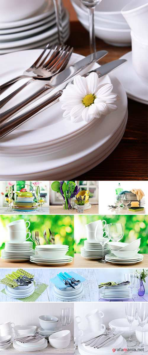 Stock Photo Clean dishes on wooden table background