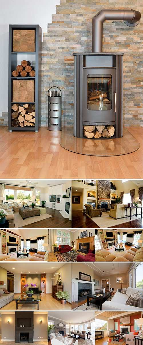 Stock Photo Modern living room with fire place, wooden floor, chair plus greatly eclectic decorated