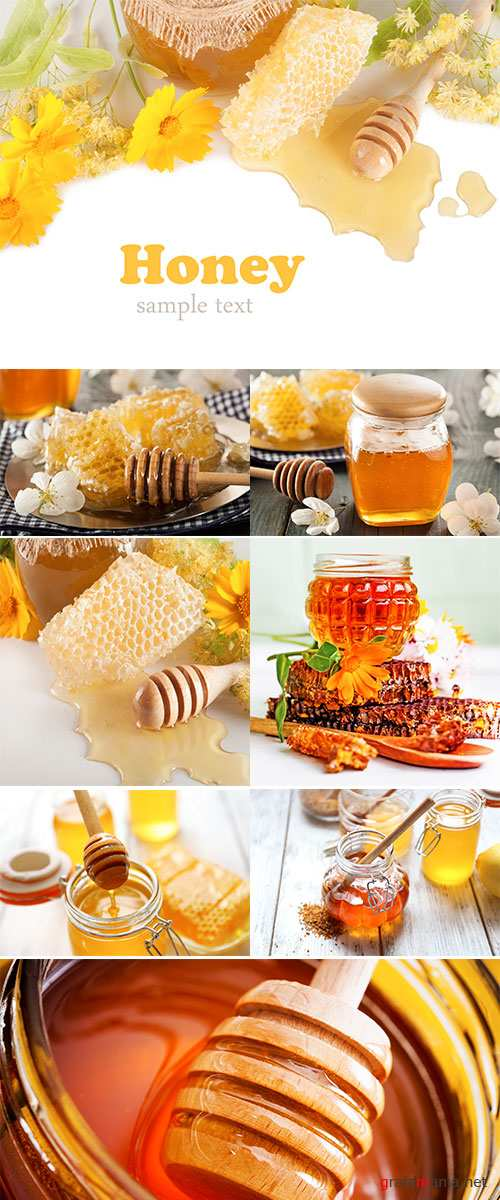 Stock Photo Jar of honey and stick