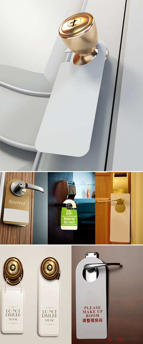 Stock Photo Hotel handles with hanging signs