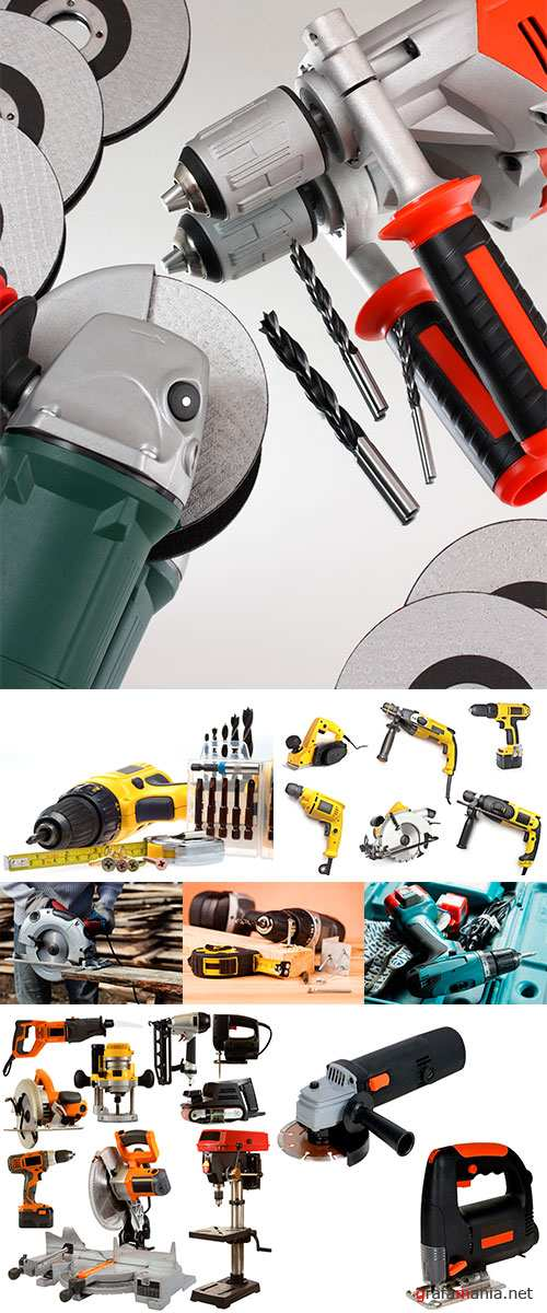 Stock Photo Drill and wood mounting tools
