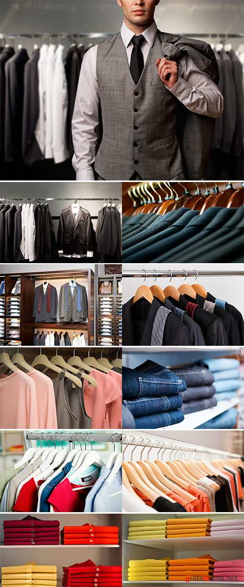 Row of suits in shop, Stock Images