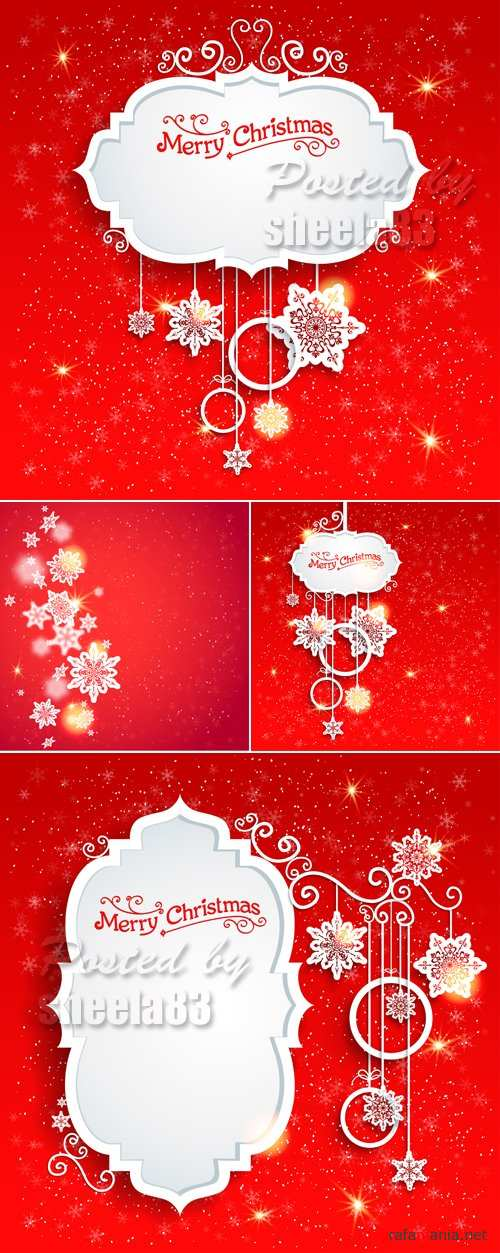 Red Christmas Backgrounds Vector 5