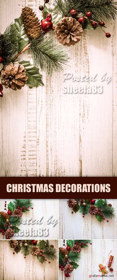 Stock Photo - Christmas Decorations on Wooden Background 6
