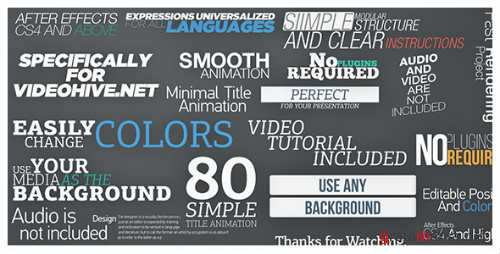 80 Simple Title Animations - After Effects Project (Videohive)
