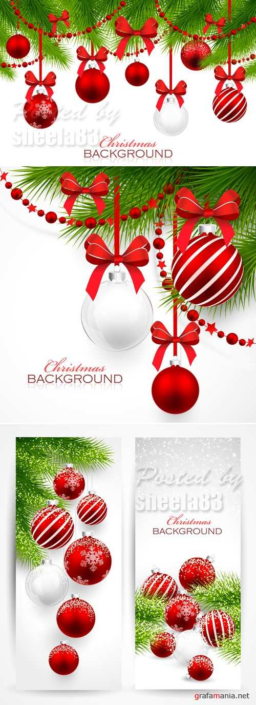 Christmas Cards with Red Decorations Vector