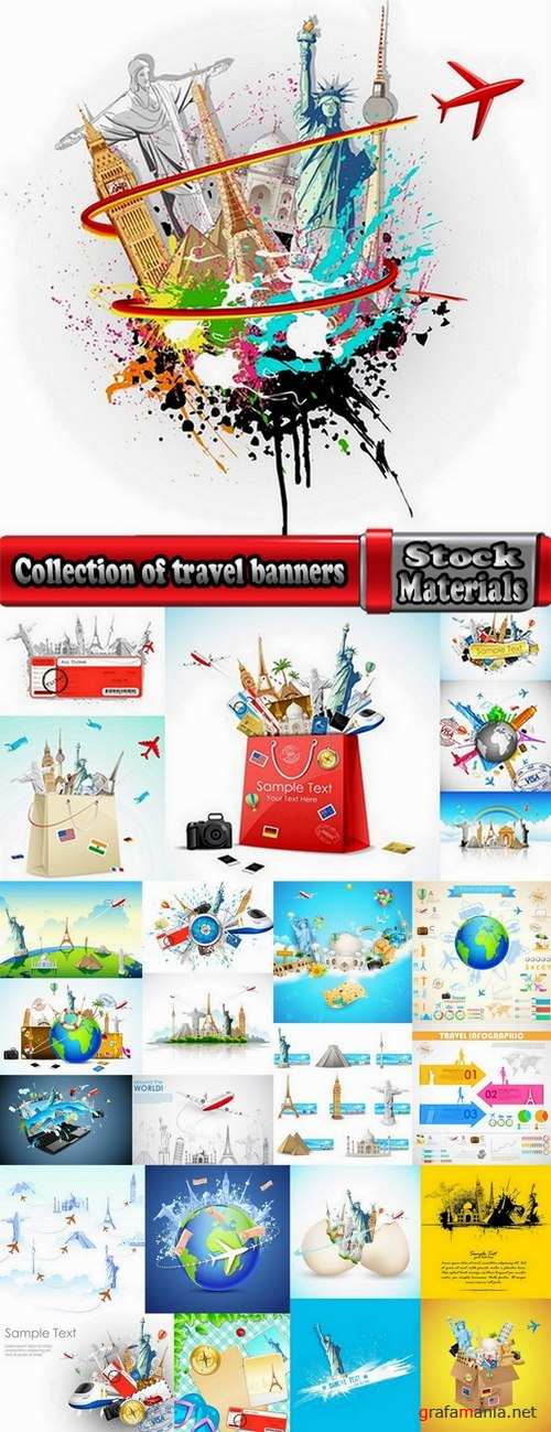 Collection of travel banners #2-25 Eps