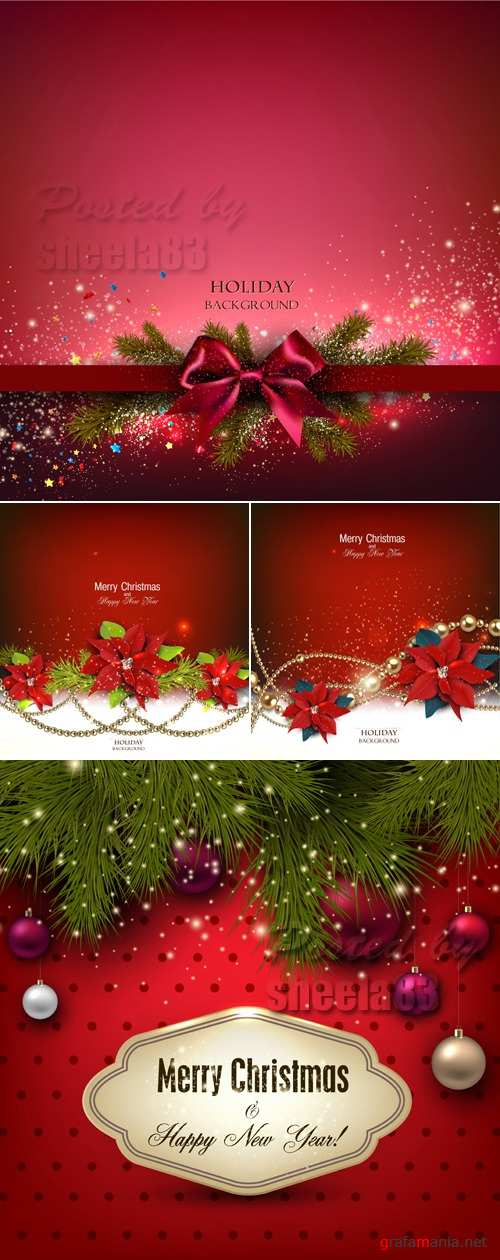 Red Christmas Backgrounds Vector 6