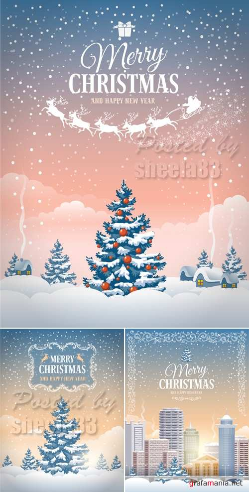 Merry Christmas Cards Vector 2