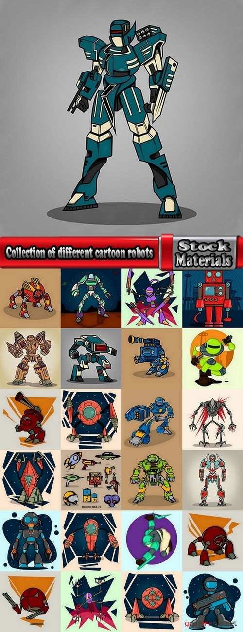 Collection of different cartoon robots 25 Eps