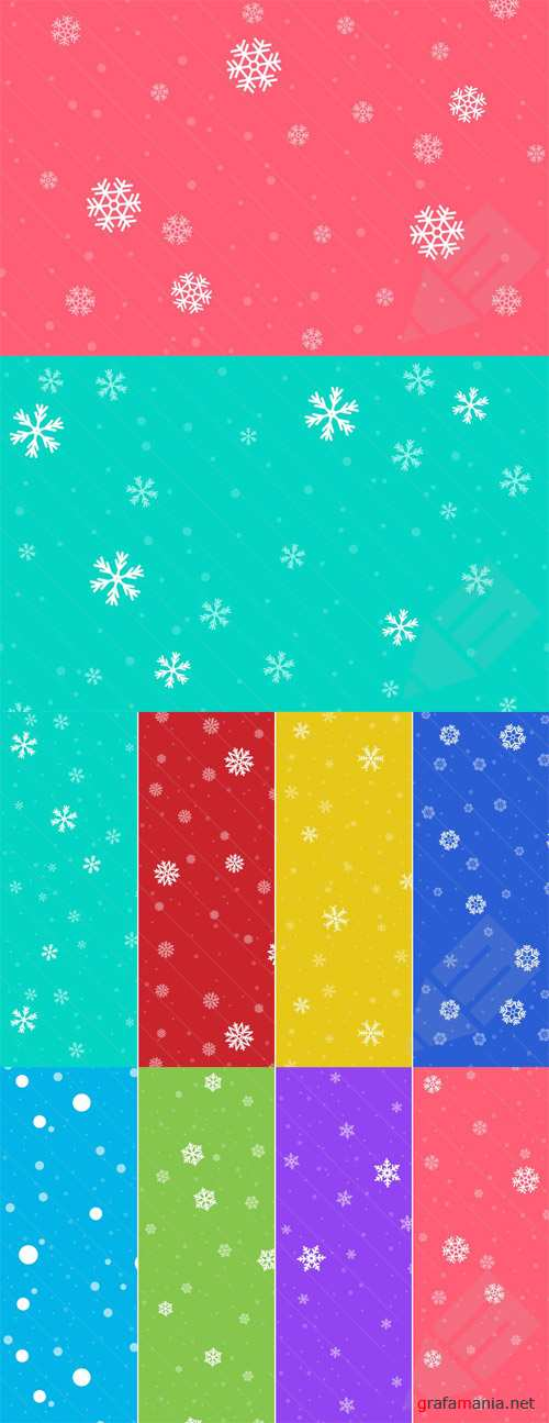 Seamless Snow Backgrounds and Patterns