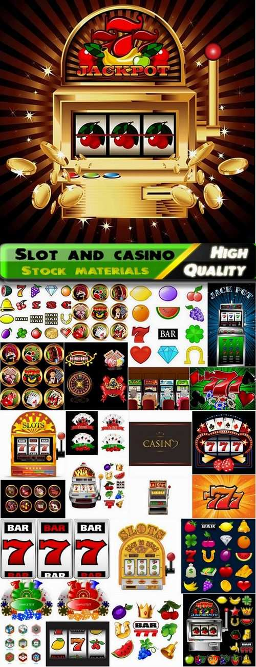 Slot and casino in vector from stock - 25 Eps