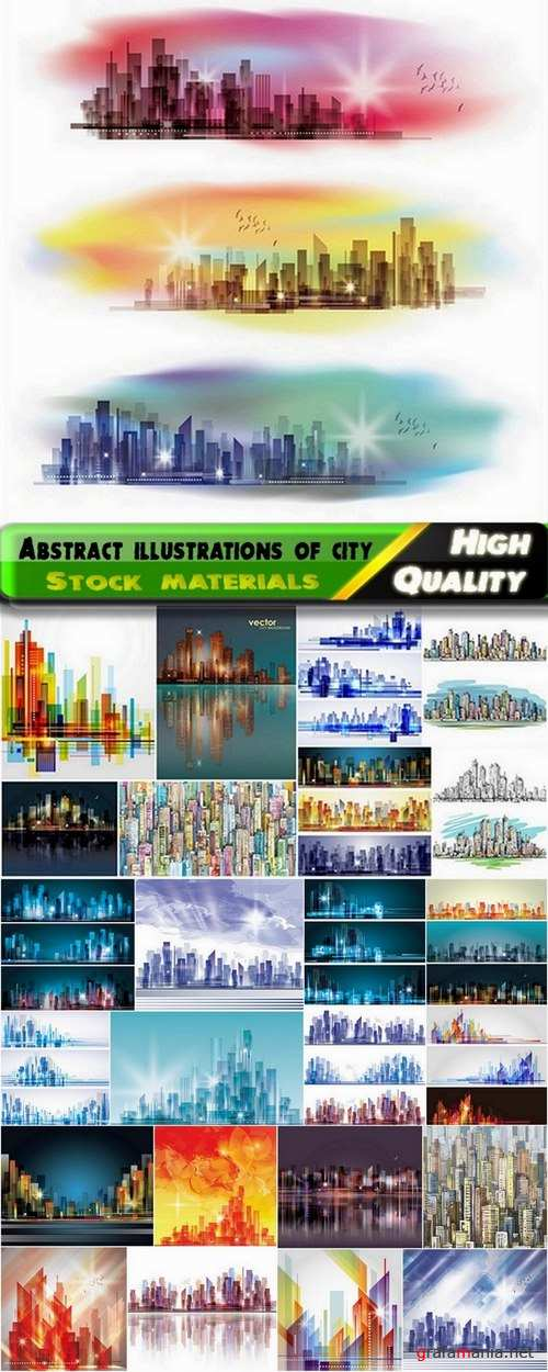 Abstract illustrations of city - 25 Eps