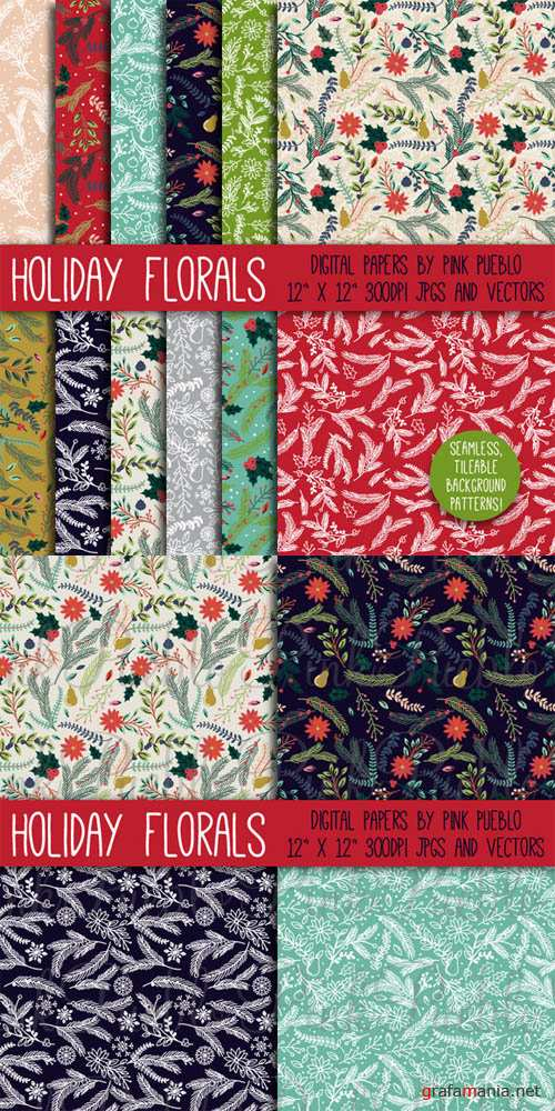CreativeMarket - Christmas Holiday Floral Patterns 95422