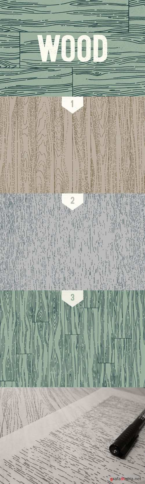 Creativemarket - 3 Wood Line Patterns - By hand 23387