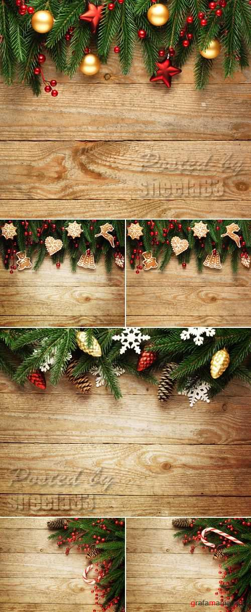 Stock Photo - Christmas Decorations on Wooden Background 7