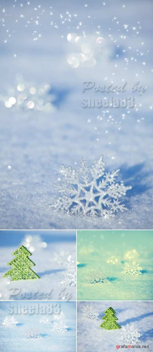 Stock Photo - Winter Backgrounds with Snowflakes 2