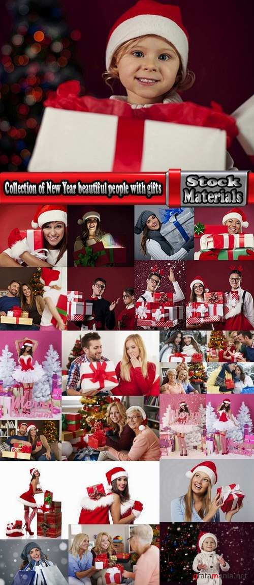 Collection of New Year beautiful people with gifts 25 UHQ Jpeg