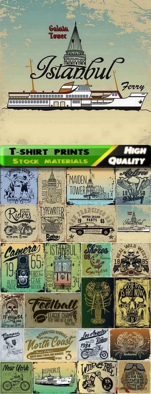 T-shirt prints design in vector from stock #23 - 25 Eps