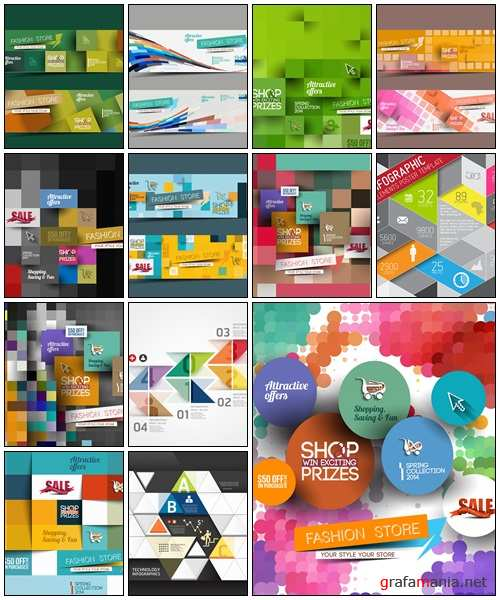 Collection of banners and infographics - vector stock