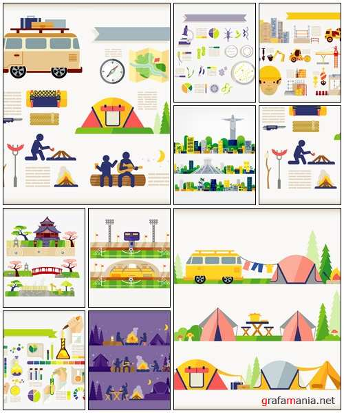 Camping and travel vector elements - vector stock