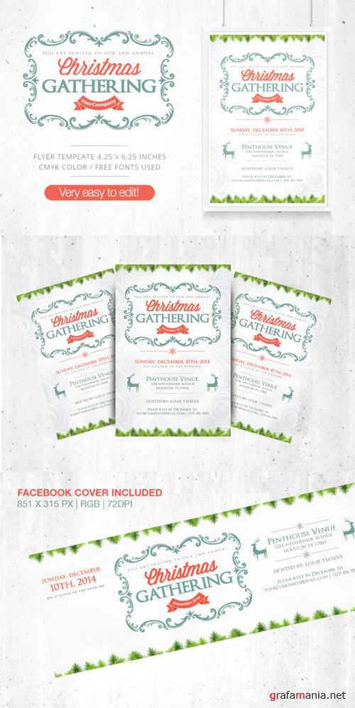 CreativeMarket - Christmas Gathering Flyer + FB Cover 109011