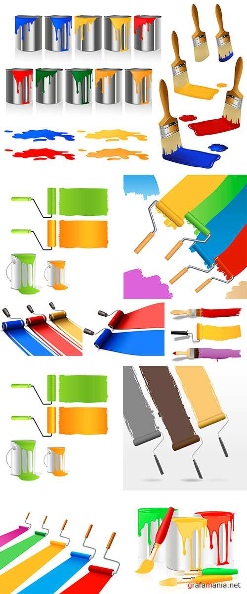 Stock Vector - Colored painting rollers,vector illustration, file included